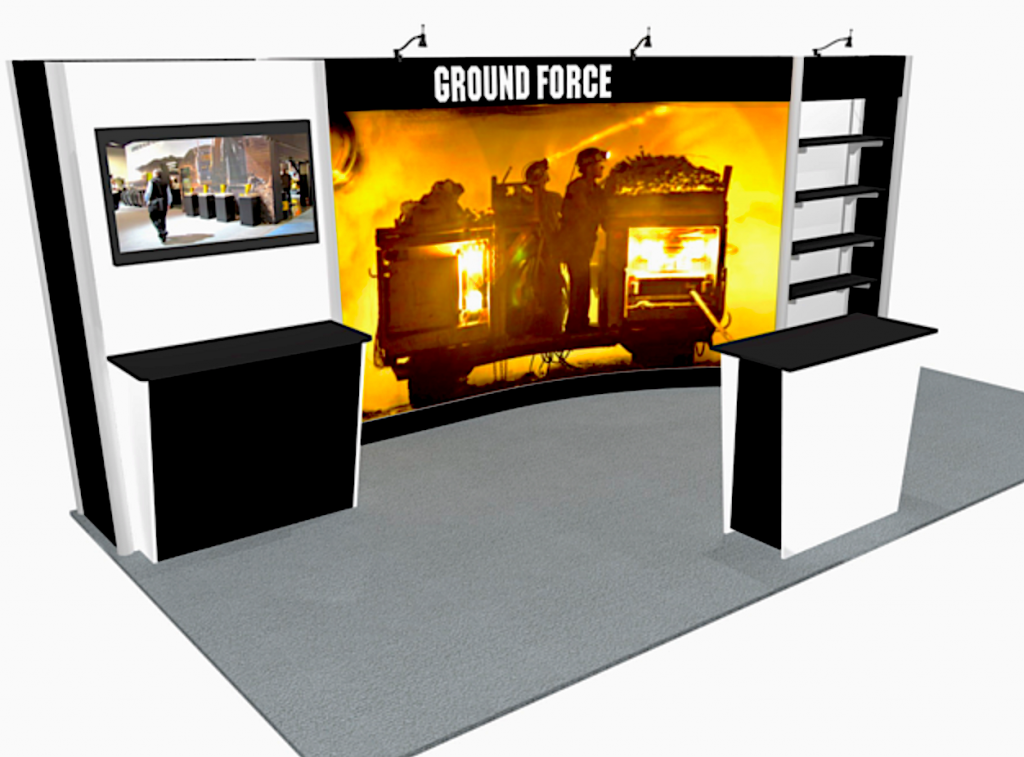 Tradeshow exhibit with product shelving