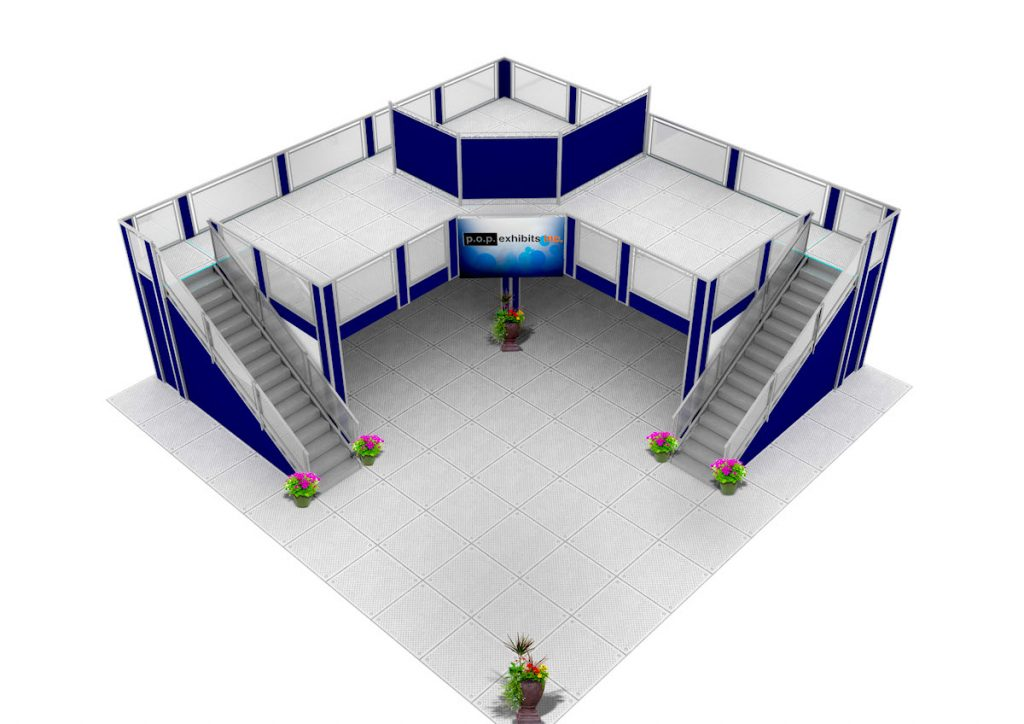 40x40 double deck exhibit upstairs with private meeting space